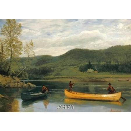Men in Two Canoes Poster Print by Albert Bierstadt (29 x 21)
