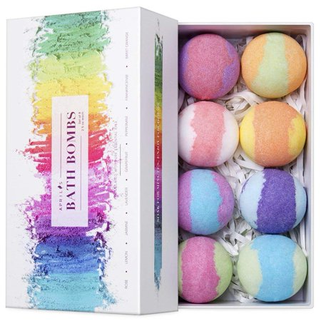 Aprilis Bath Bombs Gift Set 8 Colorful Lush Spa Floating Fizzies Vegan Essential Oils For Smooth Dry Skin Deep Relaxation Birthday