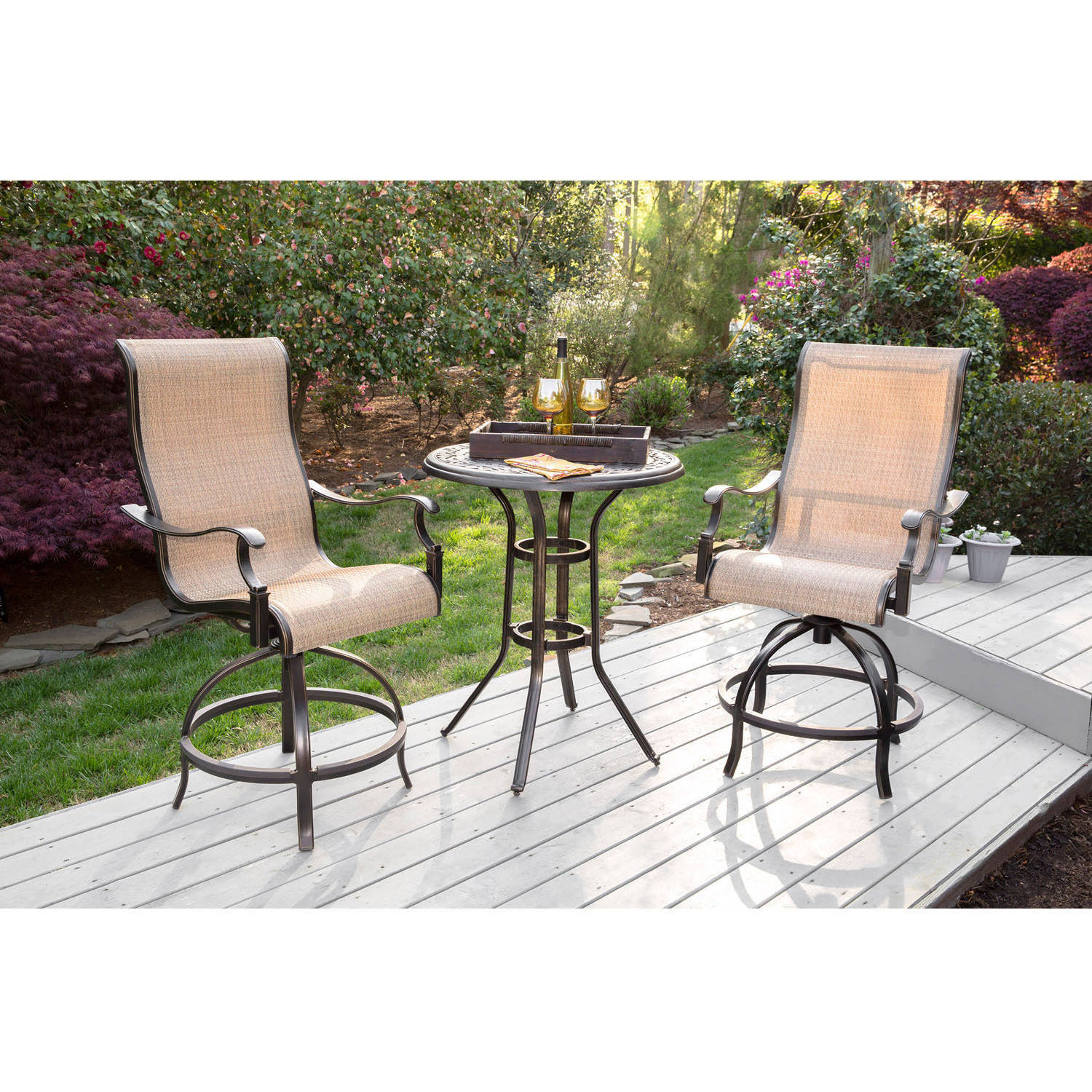 3 piece patio set hanover manor 3 outdoor high dining bar set 10318