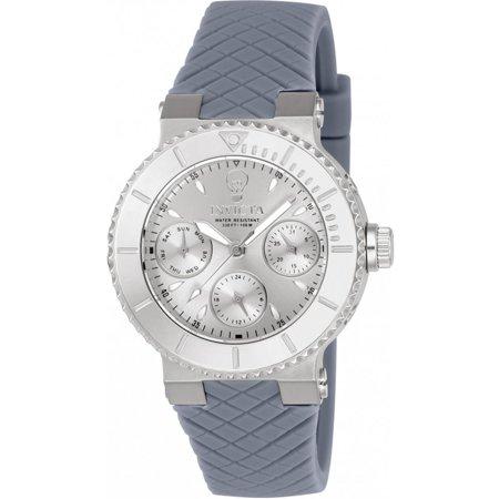 Invicta Womens Gabrielle Union Grey Silicone Band Steel Case Quartz Silver Tone Dial Analog Watch 22953