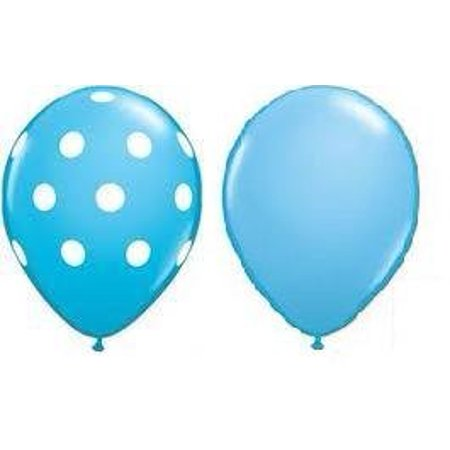 24 Assorted Balloons - Blue with White Polka Dots and Plain Blue, Superior Quality - Longer Lasting - Brilliant Colors By Qualatex](White Polka Dots)