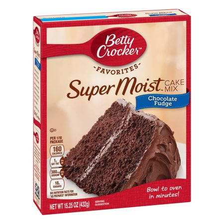 - (2 pack) Betty Crocker Super Moist Chocolate Fudge Cake Mix, 15.25 oz
