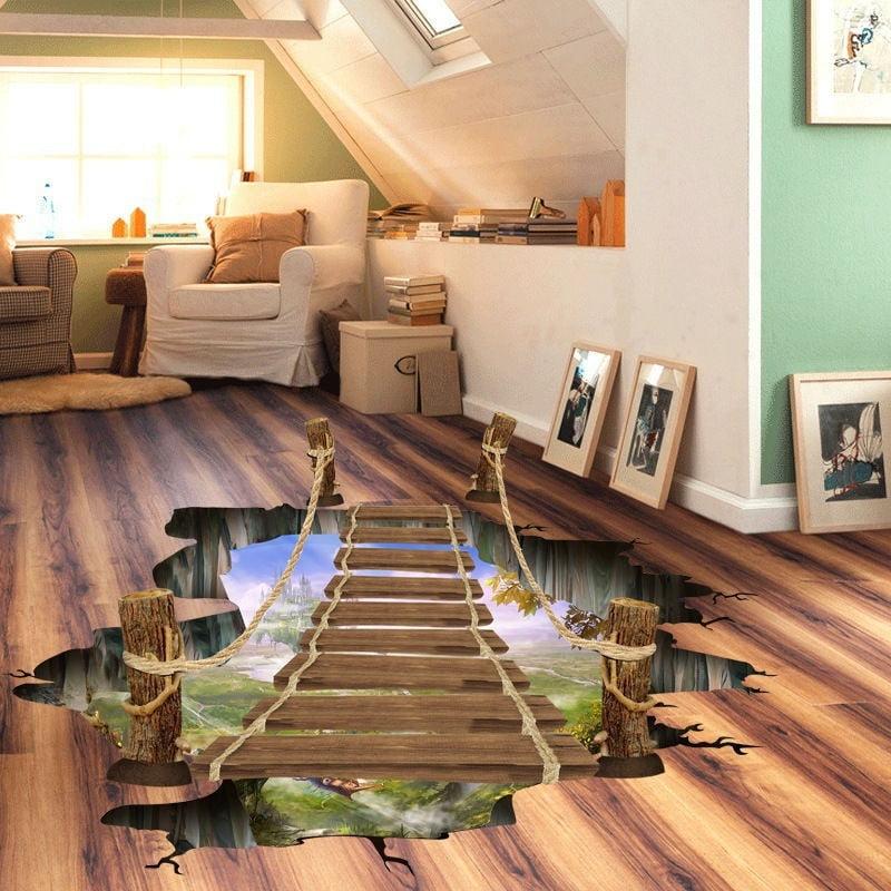 Outgeek 3D Creative Drawbridge Bedroom Living Room Kitchen Bathroom Removable Waterproof Wall Stickers Floor Sticker Home Decal
