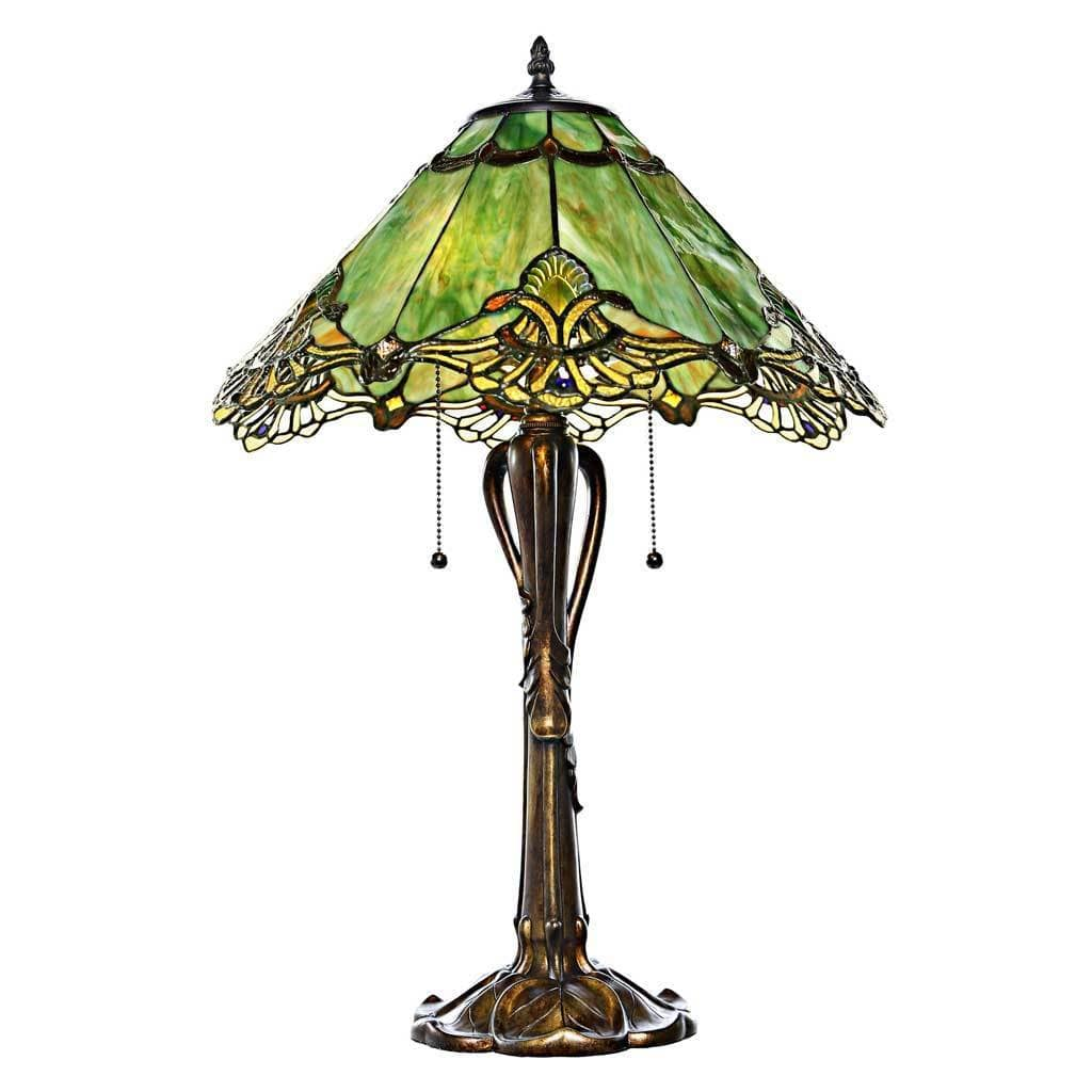 River of Goods 25 Inch Tiffany Style Stained Glass Sea Green Crystal Lace Table Lamp by Overstock