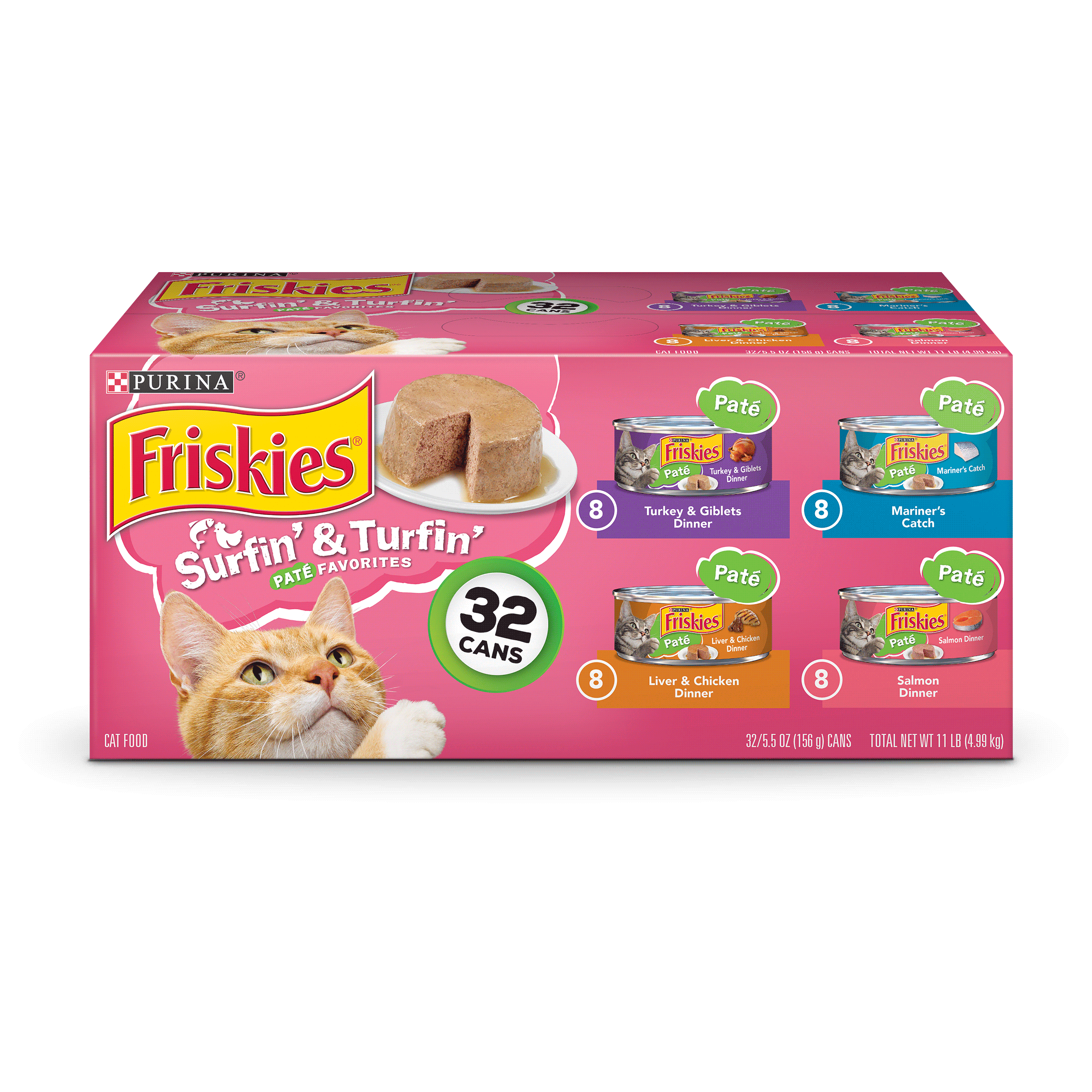 Purina Friskies Pate Surfin' & Turfin' Favorites Adult Wet Cat Food Variety Pack - (32) 5.5 oz. Cans