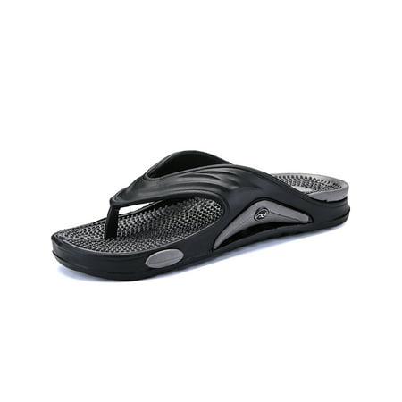 Men's Summer Sandals Tide Toe-Post Sandal - Flip Flop with Concealed Orthotic Arch Support Shower Slippers Adjustable Width Arch Support Sandal