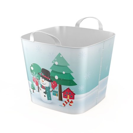 Life Story 6.6 Gallon Versatile Snowman Tub with Dual Grip Handles, White/Green