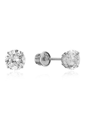 6d1a03ecc Product Image 14k White Gold 5mm April Round Cubic Zirconia Solitaire Children  Screwback Baby Girls Earrings