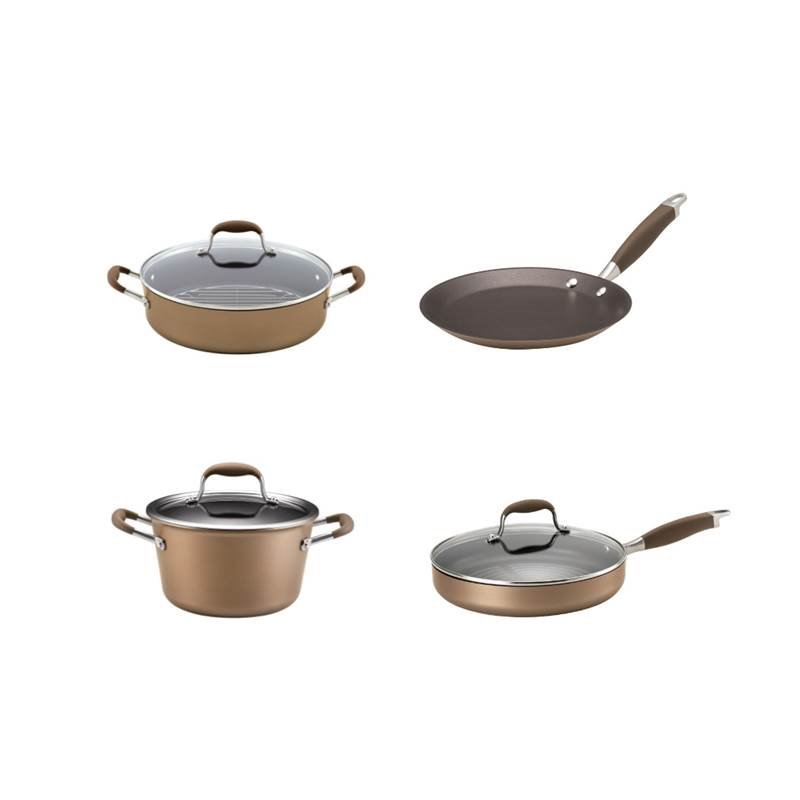 4 Piece Nonstick Cookware Set with Braiser, Grill Pan, Crepe Pan and Stock Pot in Bronze by