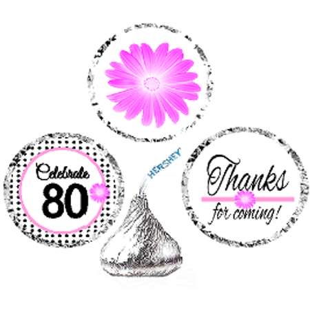 CakeSupplyShop Item#080BPH 80th Birthday / AnniversaryPink Black Polka Dot Party Favor Hershey Kisses Candy Stickers / Labels -216ct - 80th Birthday Party