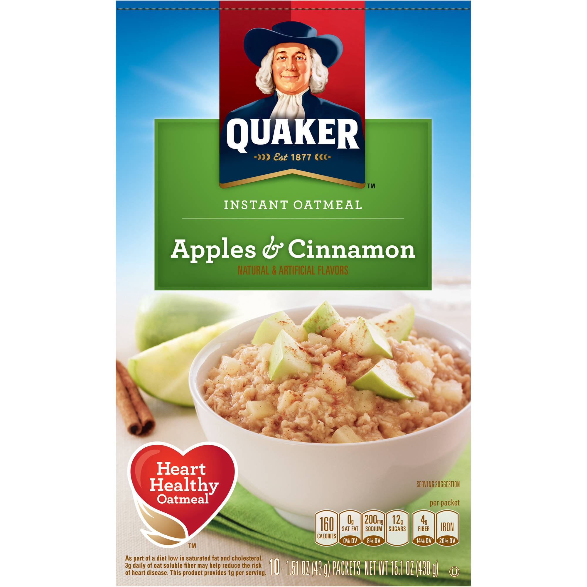 Quaker Apples & Cinnamon Instant Oatmeal, 1.51 oz, 10 count