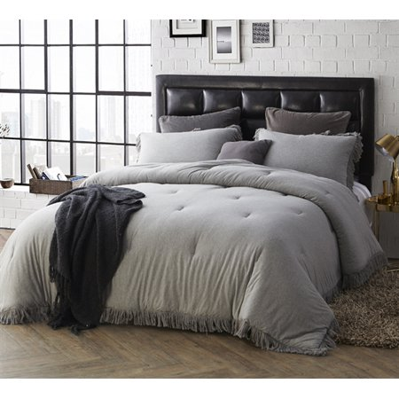 BYB Jersey Knit Oversized Comforter with Textured Edging - Twin-XL