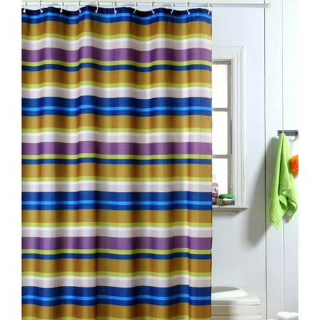 Angela Blue Gold Purple Strata Striped Shower Curtain With Matching Hooks 70x70