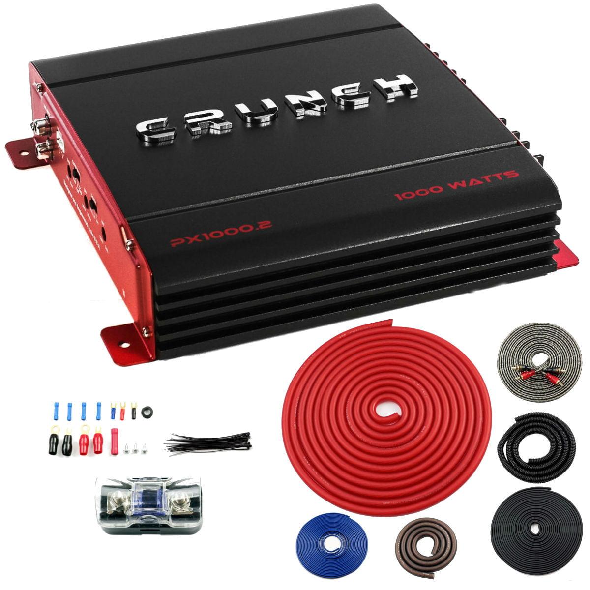 New Crunch PX-1000.2 2 Channel 1000 Watt Amp A/B Class Amplifier + 4 Gauge Kit