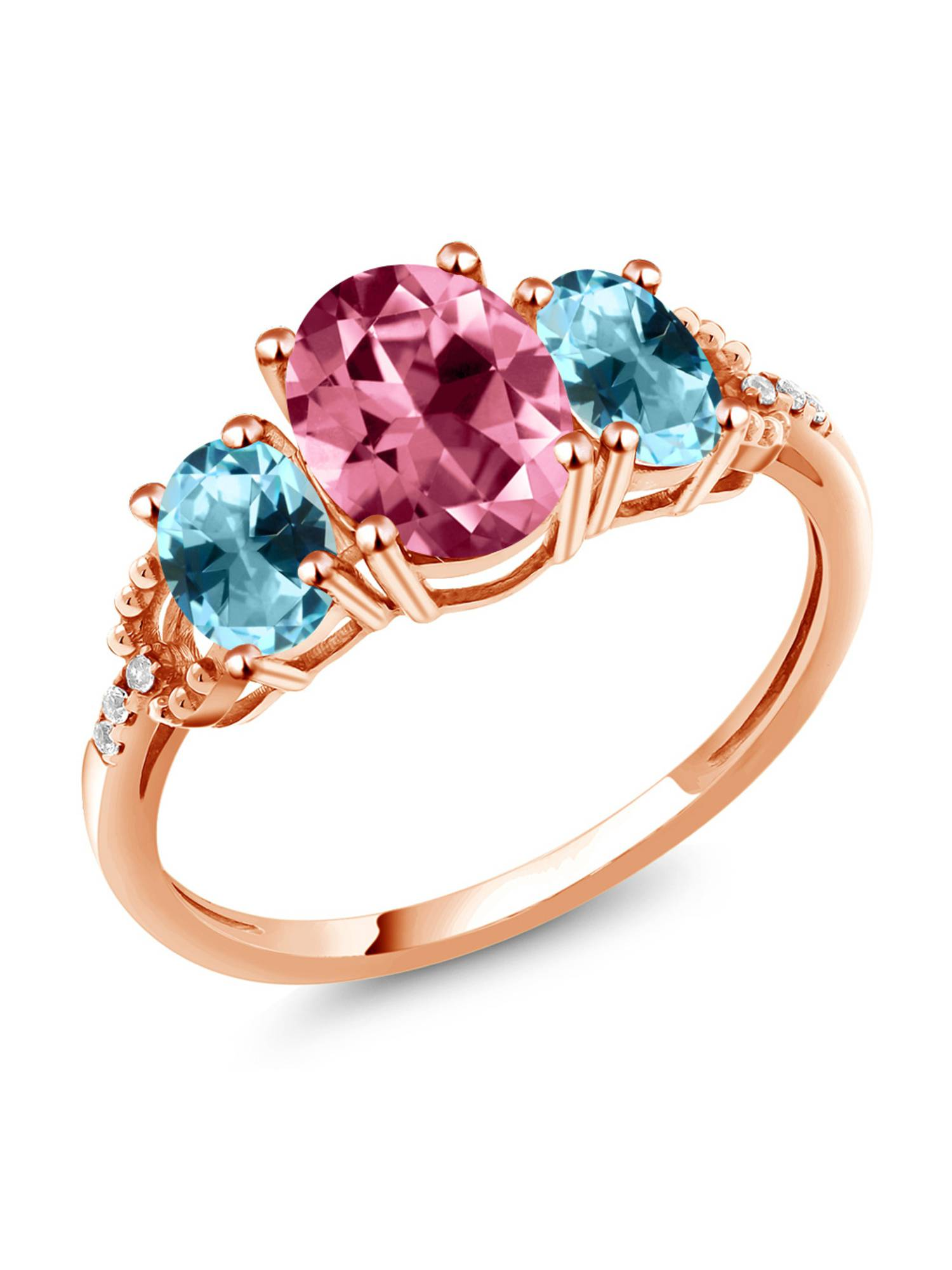 10K Rose Gold 3-Stone Diamond Accent Ring 8x6mm Set w  Pink Topaz from Swarovski by