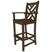 """47.75"""" Recycled Earth-Friendly Outdoor Patio Bar Dining Arm Chair - Teak Brown"""