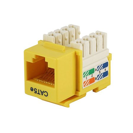 Connection Blocks 110 Punch - Monoprice Cat5E Punch Down Keystone Jack - Yellow | 110 Type IDC, 90 Degree Connection