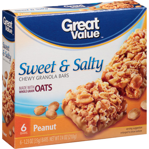 Great Value Sweet & Salty Peanuts Granola Bar, 6 pk