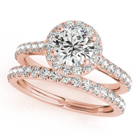 - 3/4 Ct. Diamond Engagement Bridal Ring Set 14K Solid Rose Gold