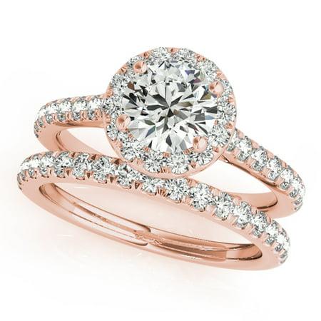 3/4 Ct. Diamond Engagement Bridal Ring Set 14K Solid Rose Gold ()