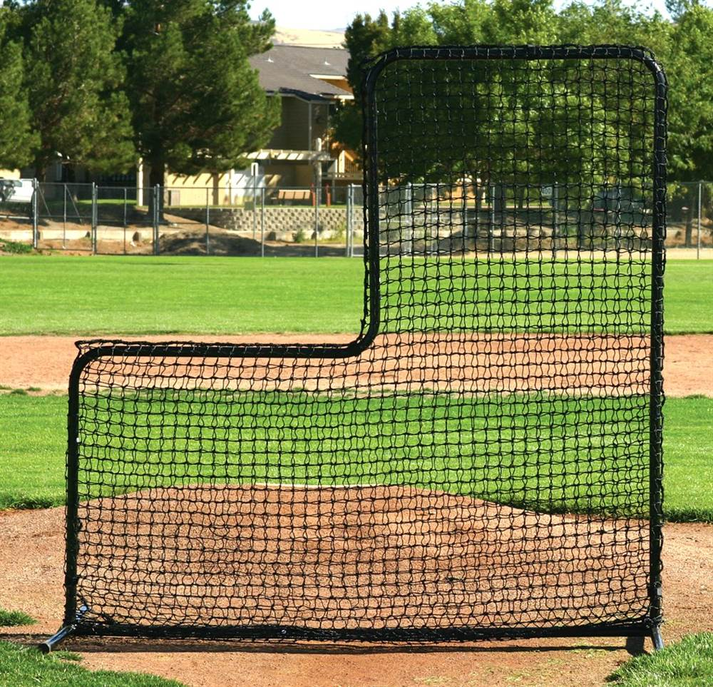 Pitchers Portable L-Screen in Black w Steel Tubing