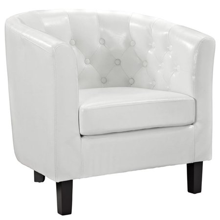 Hawthorne Collections Faux Leather Tufted Accent Chair in White