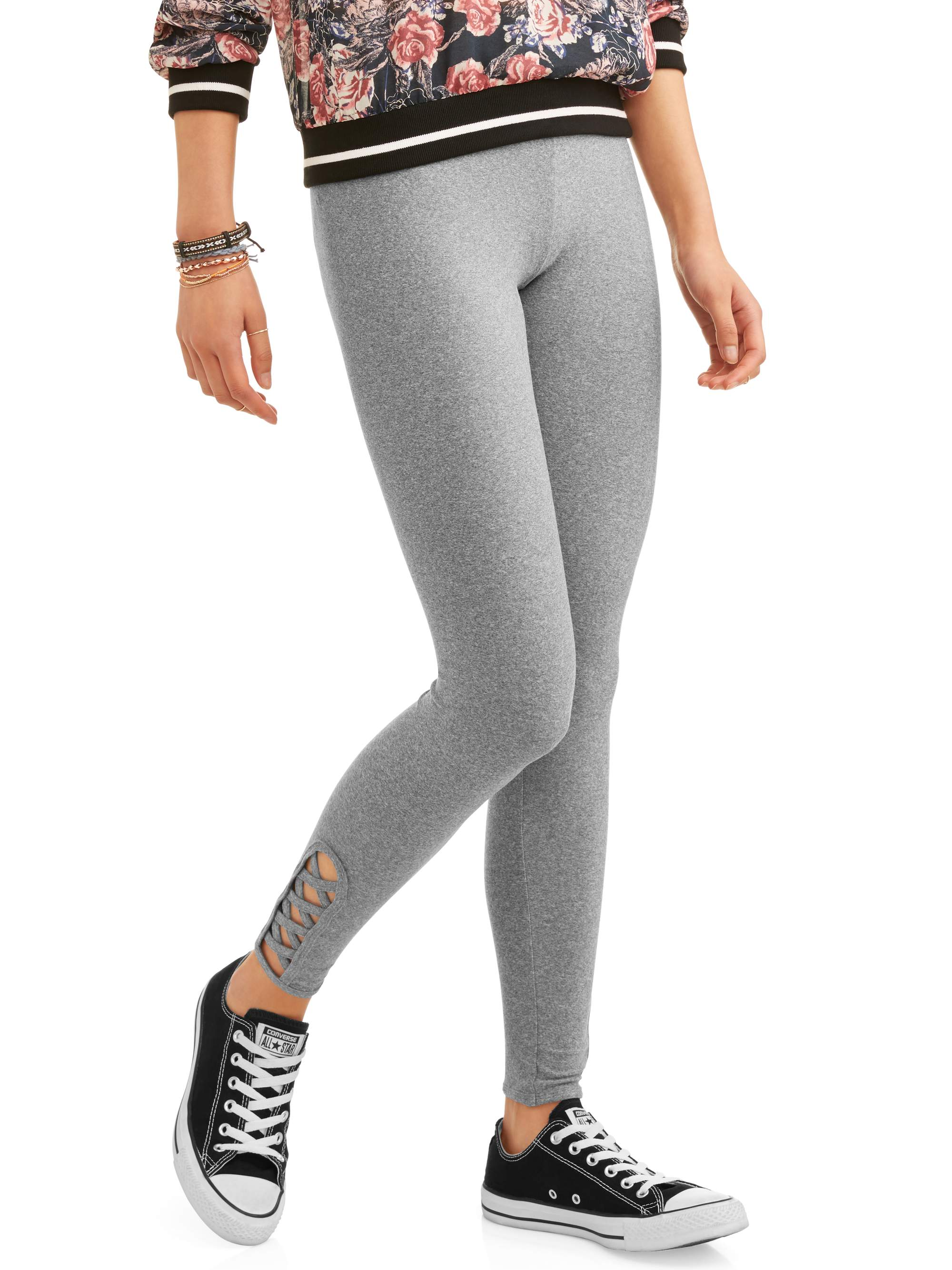 Juniors' Criss-Cross Ankle Leggings (Prints & Solids)
