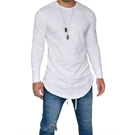 Solid Long Cotton - Men's Fashion Long Sleeve T-shirt Pure Cotton Solid Color Tee Tops