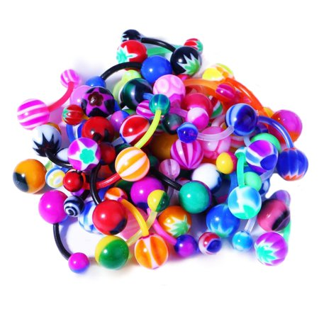 - BodyJ4You 20PC Belly Button Rings Banana Barbells 14G Bioflex Plastic Bar Mix Color Body Jewelry