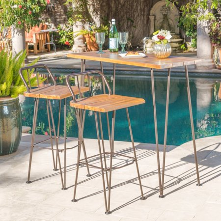 Christopher Knight Home Denali Outdoor Industrial 3-piece Wood Bar Set by ()