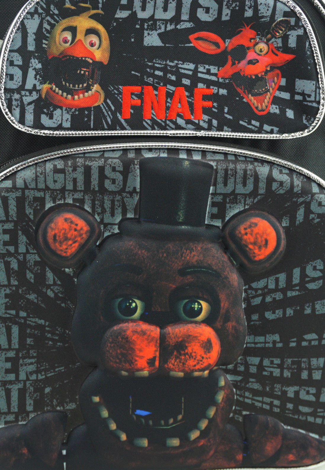 """FNAF Backpack Small 12/"""" Black Withered 3D Embossed Five Nights at Freddy/'s"""