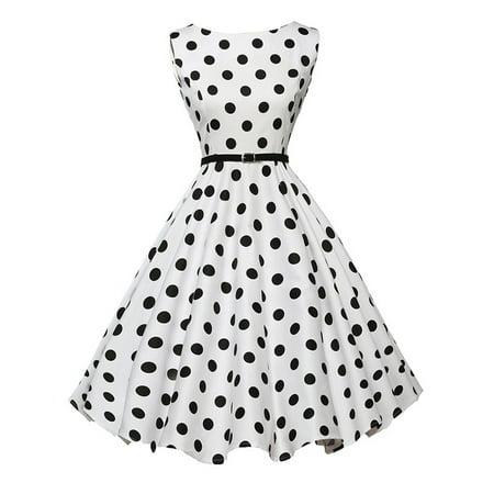 Womens Vintage Polka Dot 50s 60s Style Rockabilly Party Retro Swing Skater Dress](50s Polka Dot)