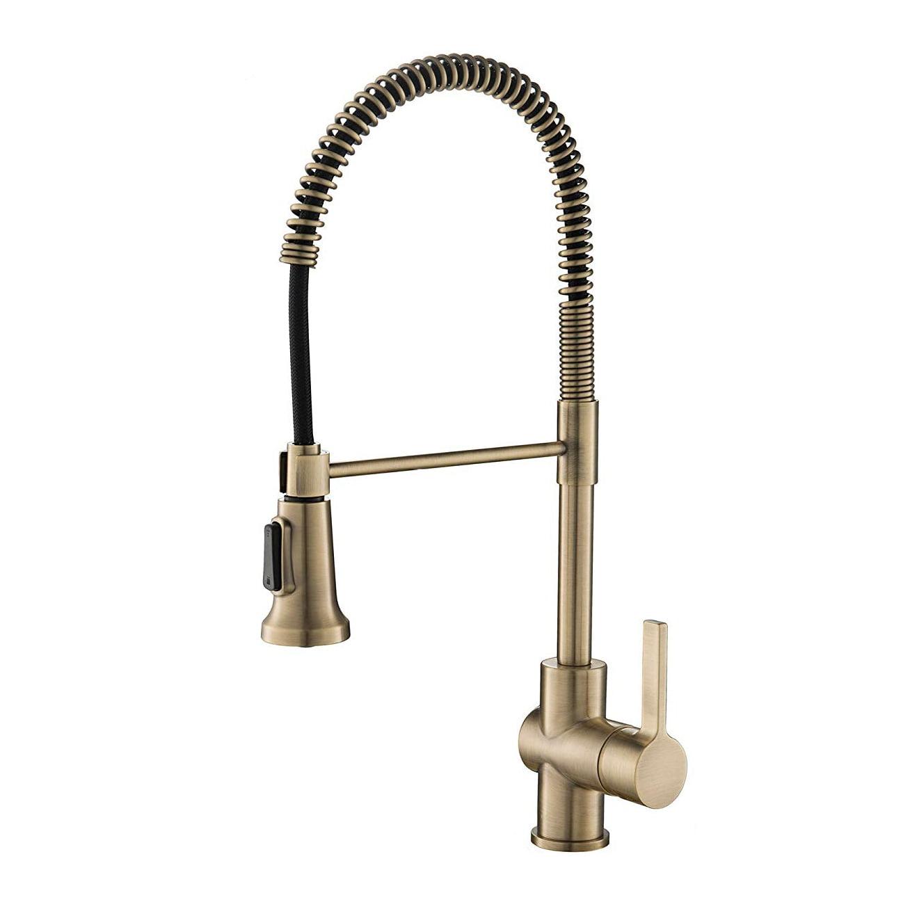 Kraus Britt Single Handle Commercial Kitchen Sink Faucet Antique Brass Finish Walmart Com Walmart Com