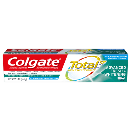 Colgate Total Whitening Toothpaste, Advanced Fresh + Whitening Gel, 5.1 oz. (Colgate Total Advanced Whitening)