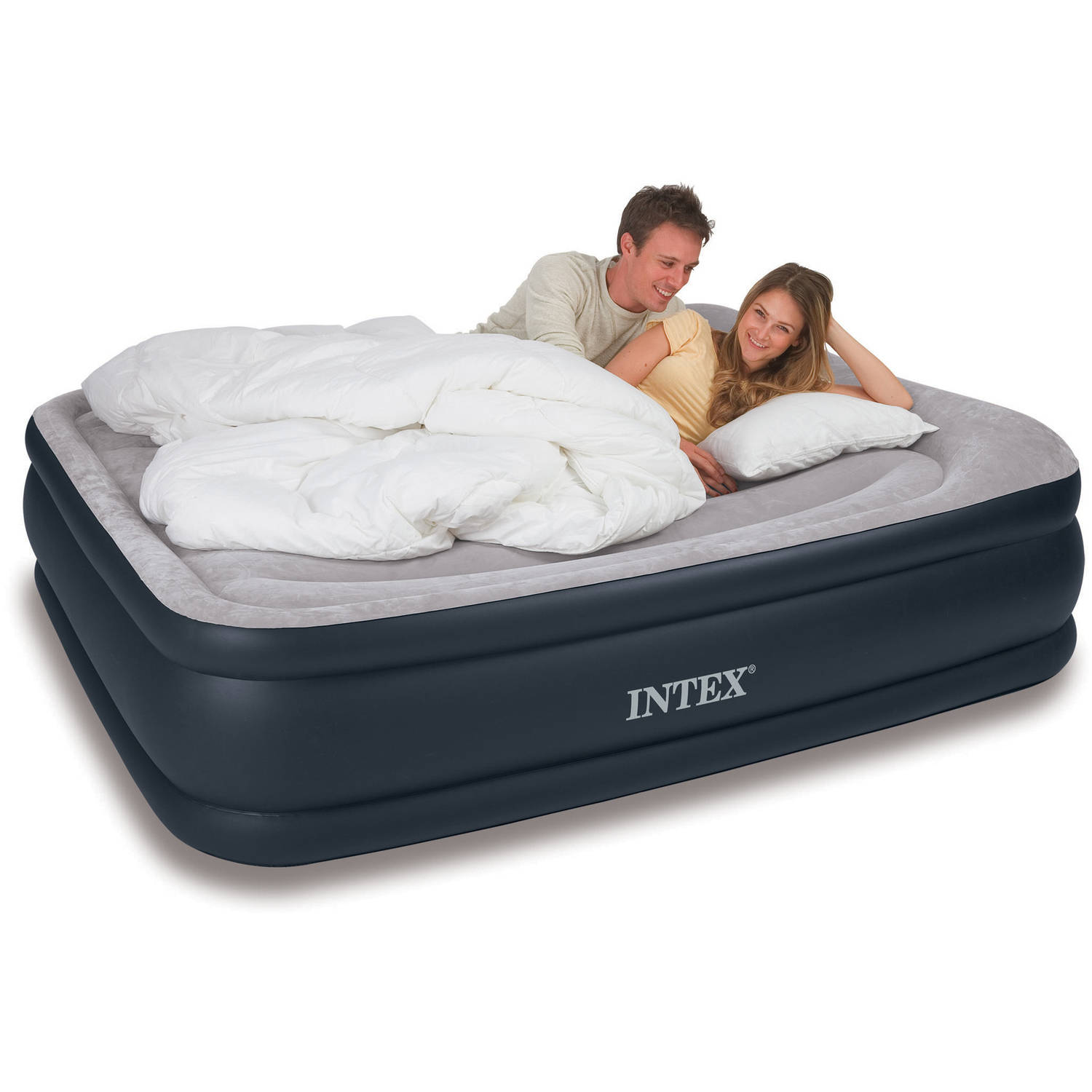 Intex Deluxe Raised Pillow Rest Airbed Mattress with Built-In Pump, Twin, Full and Queen Sizes ...