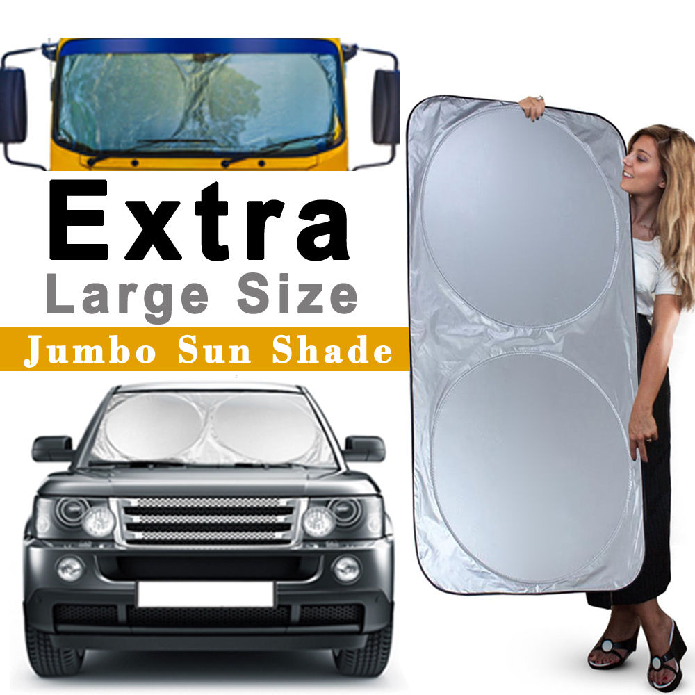 "Car Windshield Sun Shade, iClover Block Sunlight Rays Ice Rains Snows Dusts Summer Winter Applicable for Cars Trucks Vans SUV (75""x35"")"