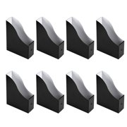 Magazine Holders - 8-Pack Corrugated Cardboard File Holders with Labels, Document and File Organizer, Black