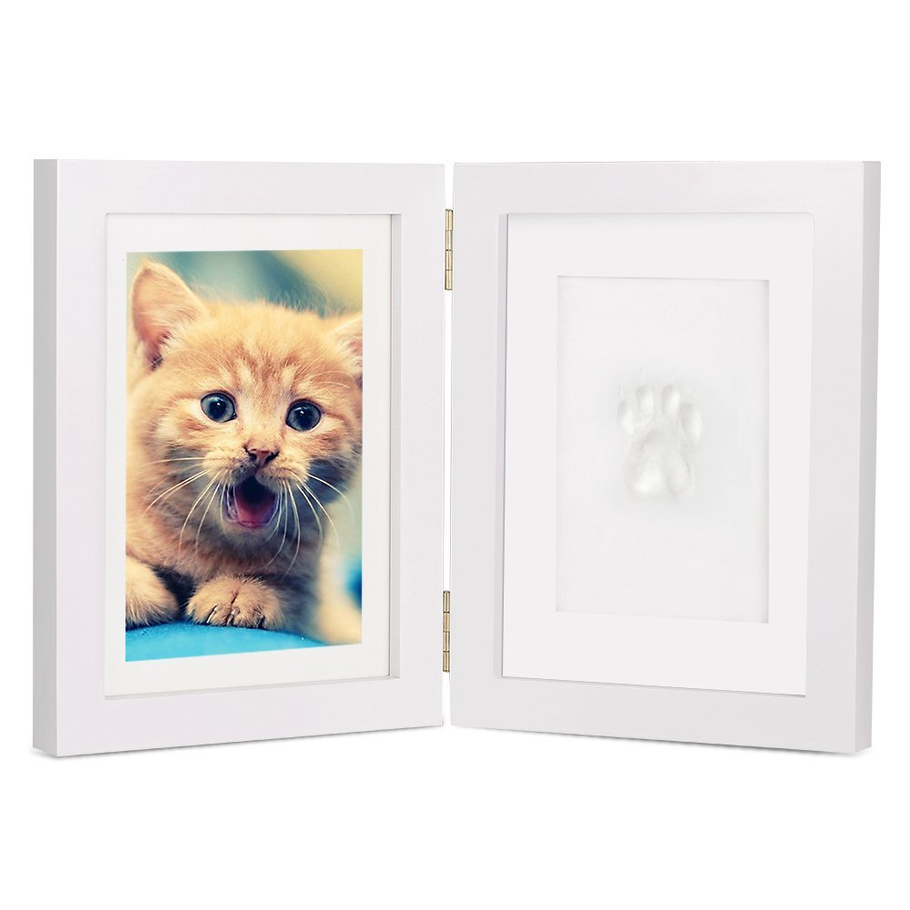 White Personalized Dog or Cat Pet Memorial Frame Paw Prints Desk Photo  Frame Modern Wall Hanging Double Picture Frames with Clay Imprint Kit  Perfect