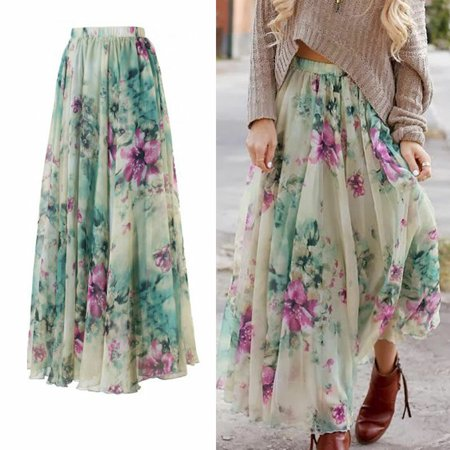 - New Women Chiffon Floral High Waist Maxi Dress Skater Flared Pleated Long Skirt