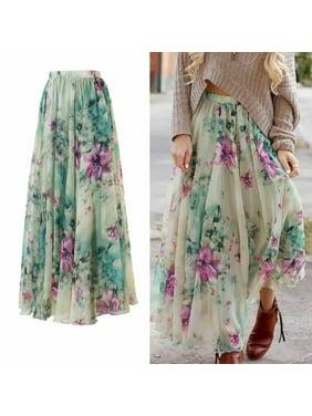 c8b5bb99aa Product Image New Women Chiffon Floral High Waist Maxi Dress Skater Flared  Pleated Long Skirt