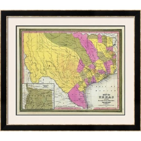 Map of Texas, c.1846 Framed Giclee Print Wall Art By Samuel Augustus ...