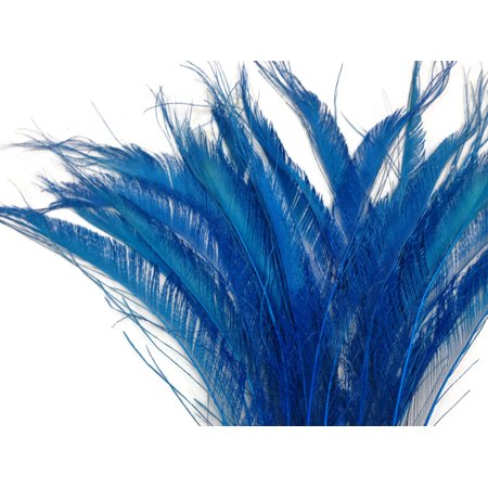 5 Pieces - Turquoise Blue Bleached Peacock Swords Cut Feathers Peacock Feathers Wedding