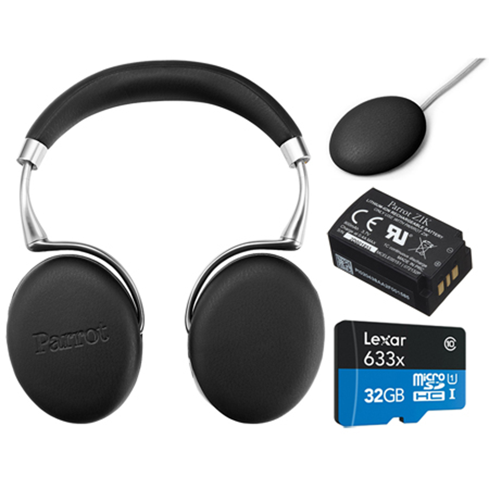 Parrot Zik 3 Wireless Noise Cancelling Headphones with Wireless Charger, Battery + Lexar 32GB MicroSDHC UHS-I 633X High-Performance Memory Card Bundle (Black Leather-Grain)