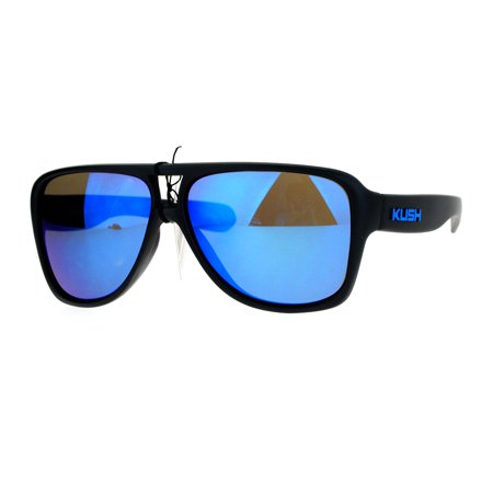SA106 Kush Mens Thick Plastic Aviator Color Mirror Lens Sport Sunglasses (Blue Mirror Lens Sunglasses)