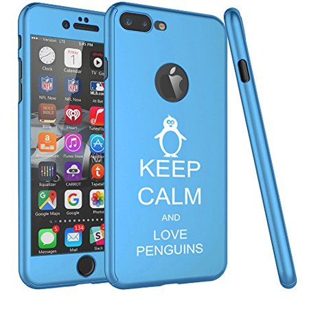 For Apple iPhone 360° Full Body Thin Slim Hard Case Cover + Tempered Glass Screen Protector Keep Calm And Love Penguins (Light Blue For iPhone