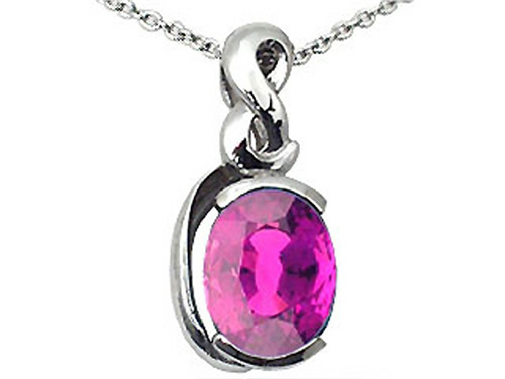 Tommaso Design Oval 9x7mm Genuine Pink Tourmaline Pendant Necklace by