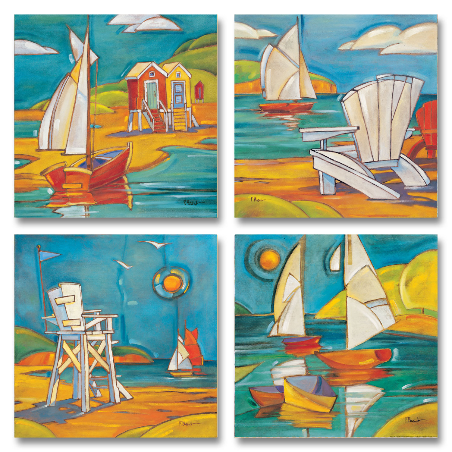 Beautiful, Retro, Colorful Sailboats, Adirondack Chairs, Cabanas and Lifeguard Tower; Four 12X12 Prints by Gango Home Décor