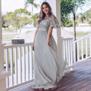 Ever-Pretty Womens Elegant Embroidery A-Line Bridesmaid Dresses for Women 00904 Grey US4