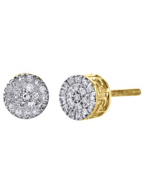 10K Yellow Gold Round Diamond Cluster 6mm Small Circle Stud Earrings 0.10 CT.