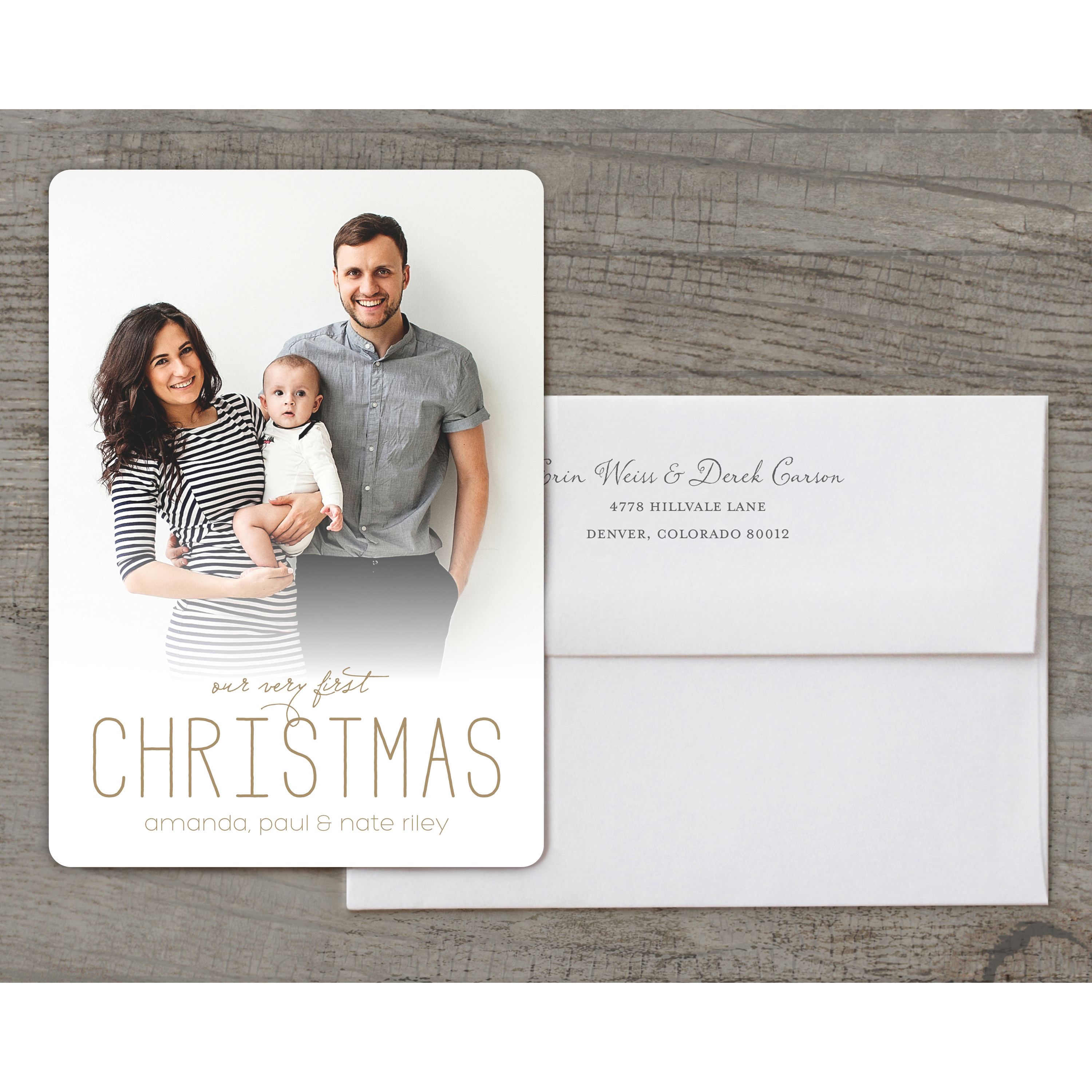 Our Very First - Deluxe 5x7 Personalized Holiday Baby's First Christmas Card